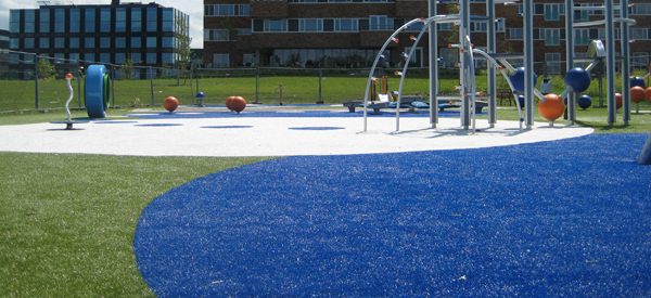 Town Grass installation of artificial turf play area