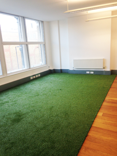 Artificial grass used to decorate an office